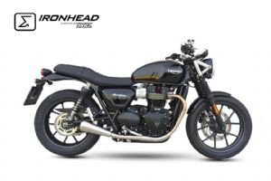 Street Cup IXIL IRONHEAD Shorty Silencers, stainless steel, Triumph Street Cup, 2016on.